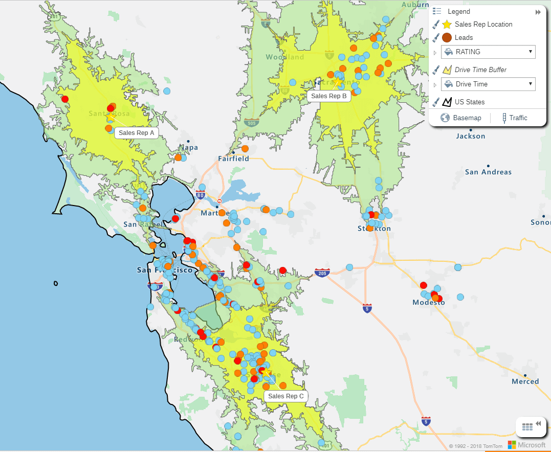 Sales rep analysis map of California