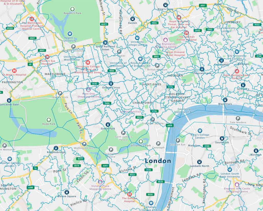 A postcode map of London