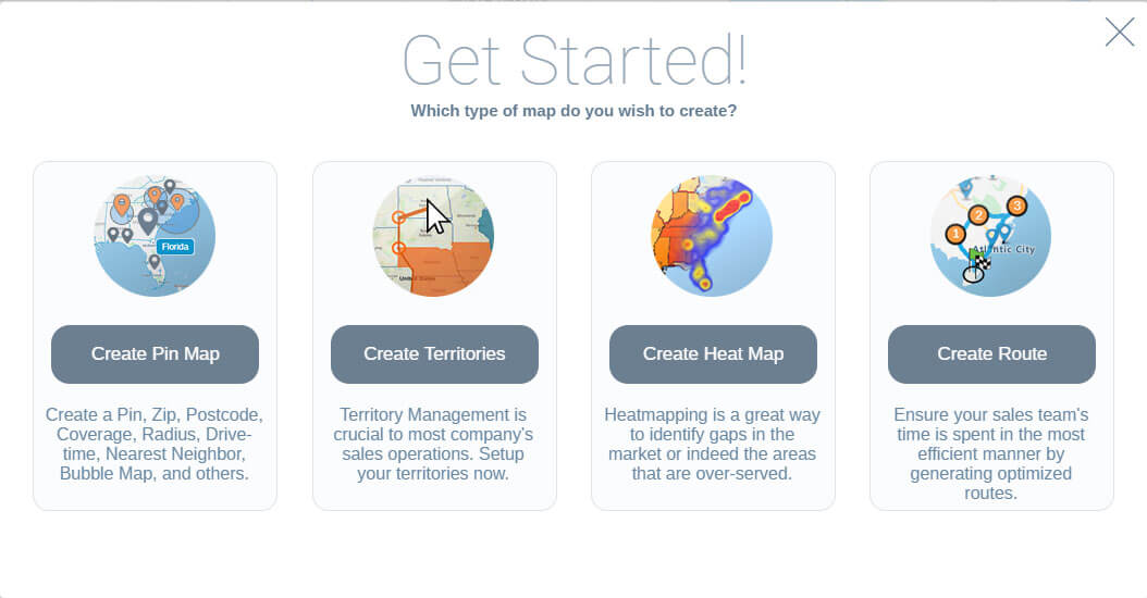 The first screen you'll see after signing up for a free trial. Select Create Territories.