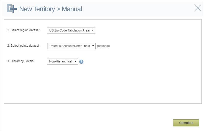 Manual sales territory builder settings screen