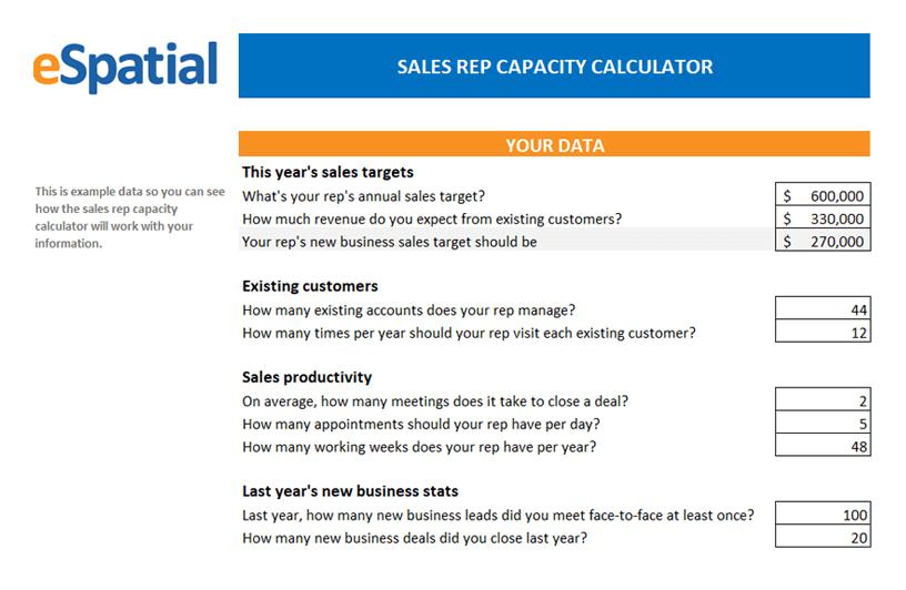Sales Rep Capacity Calculator