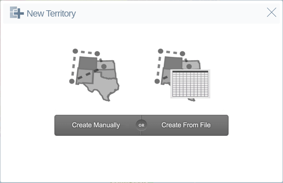 Choose to create a territory manually or from a file