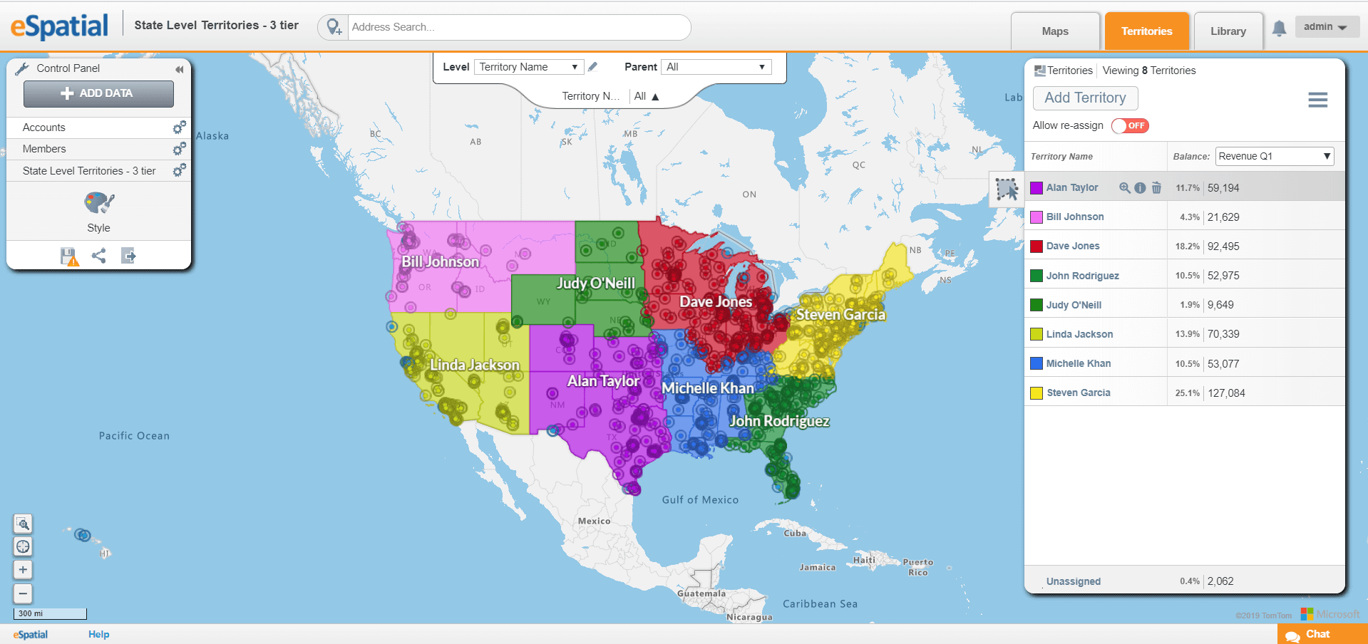 A customer territory map with balances.