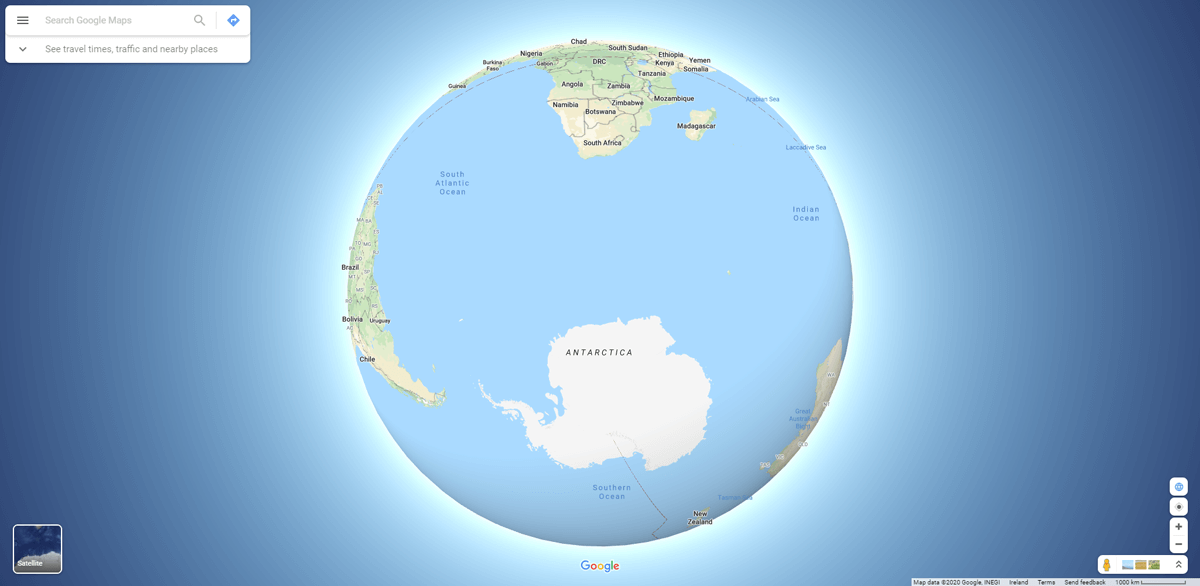 Antarctic on Google Maps