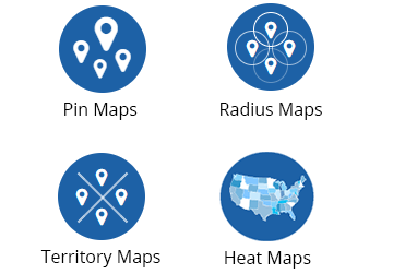 Other functions include pin maps, radius maps, territory maps and heat maps