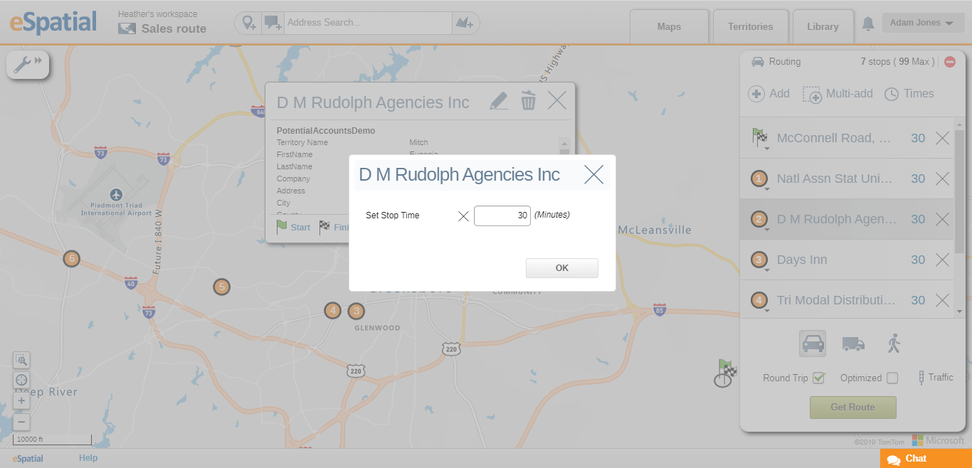 You can set appointment duration in a multi-stop route planner