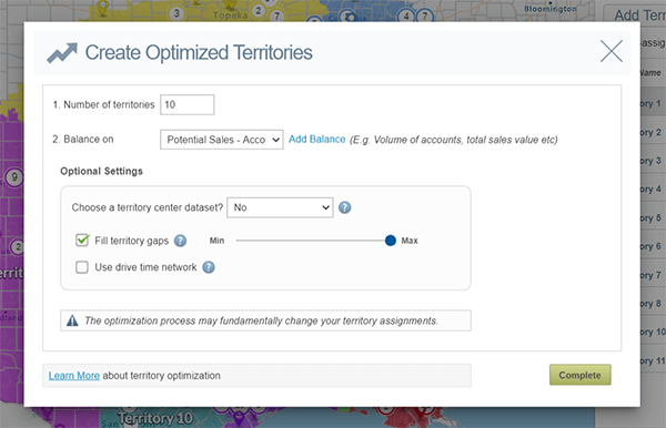 Settings for eSpatial's Territory Optimizer