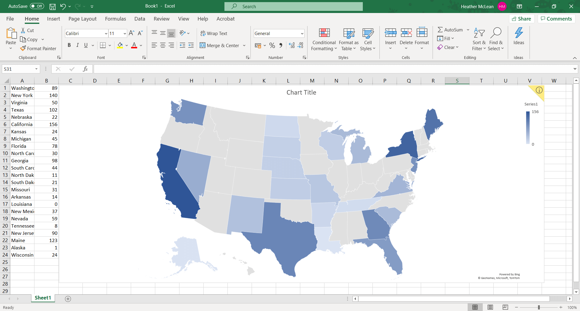Excel heat map 1