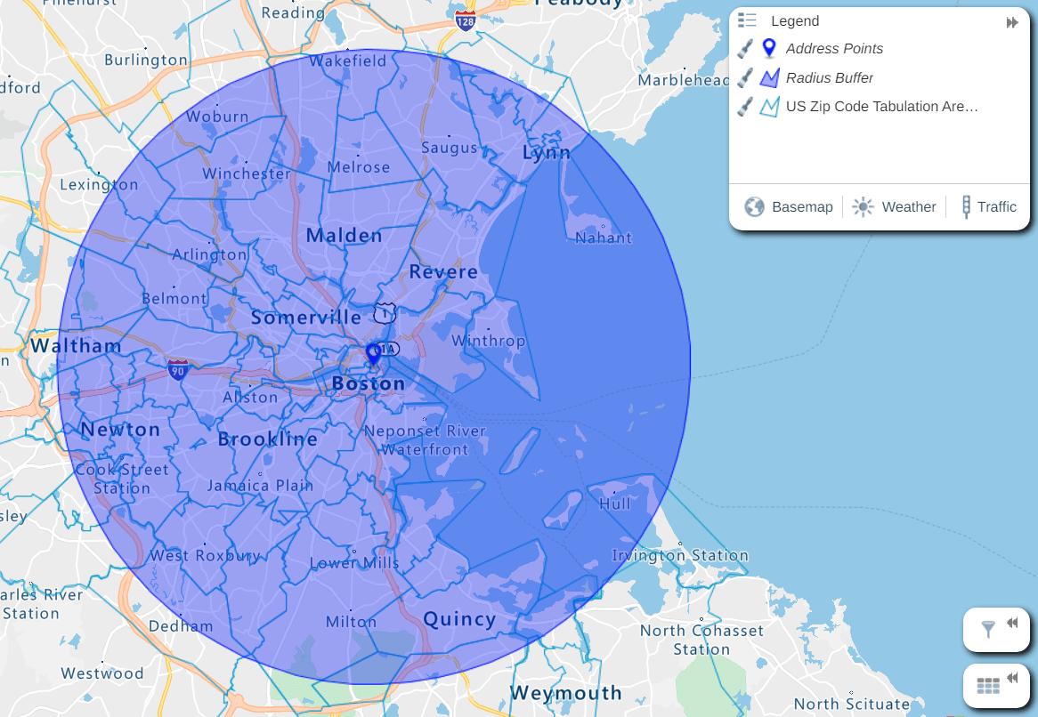 ZIP code radius map of Boston