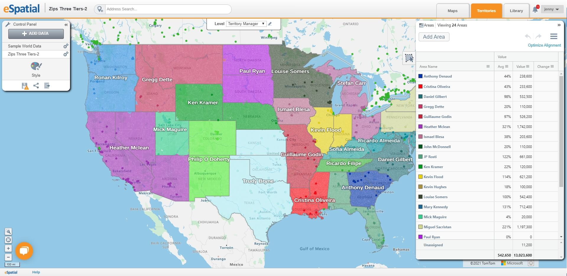 Create flexible territory maps