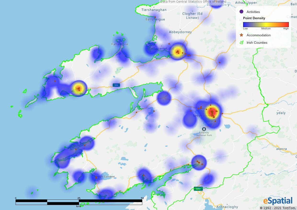 Hot spot heat map of accommodation in Co. Kerry.