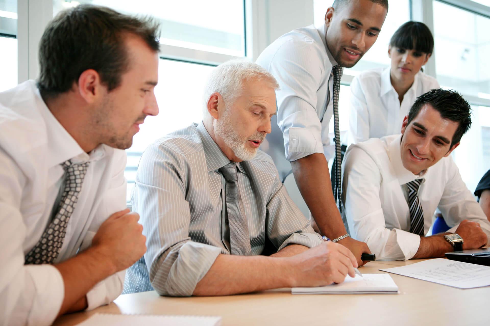 People in office having a meeting