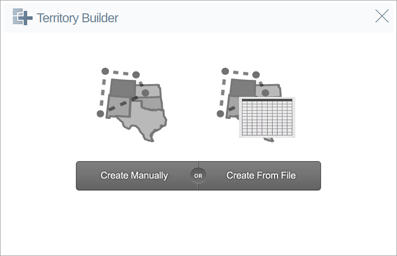 Select the Create Manually option from the Territory Builder Screen