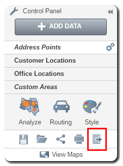 Find many ways to export your map from the export icon on the control panel