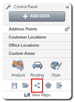 Share your maps by clicking the share icon in the control panel