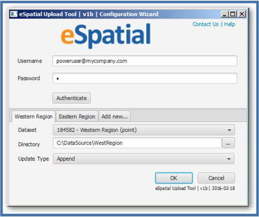 eSpatial Data Upload Tool User Interface
