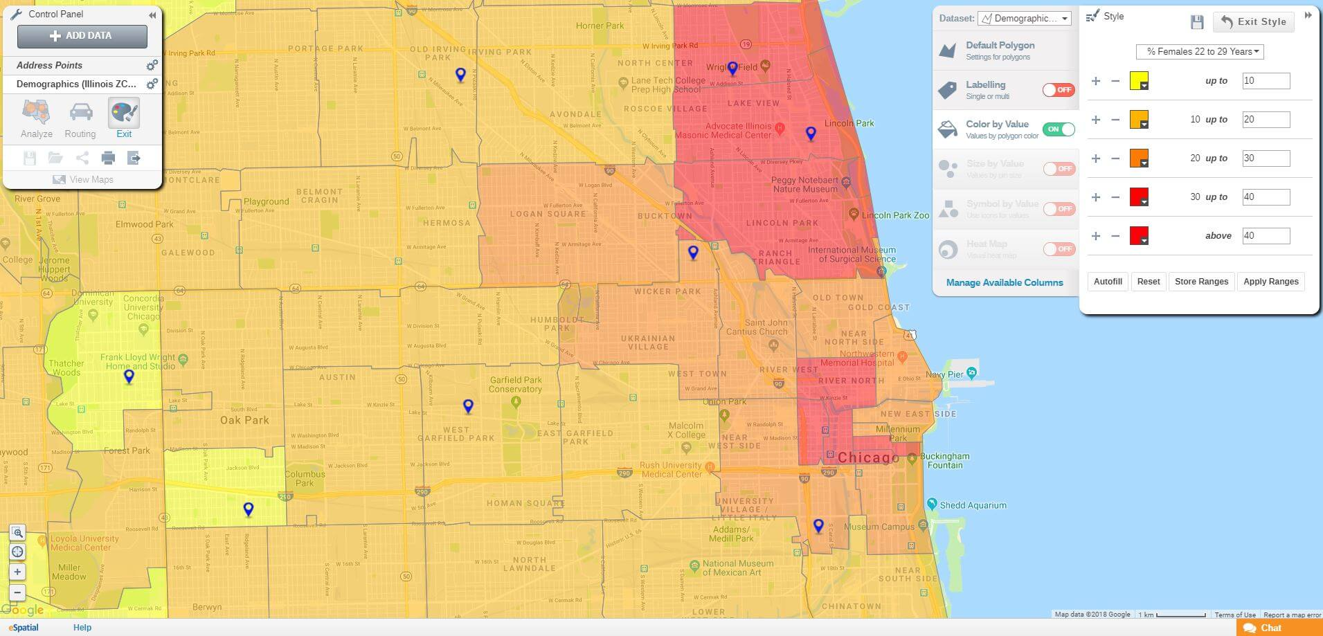 Heat Map on Demographic Data for Retail Stores