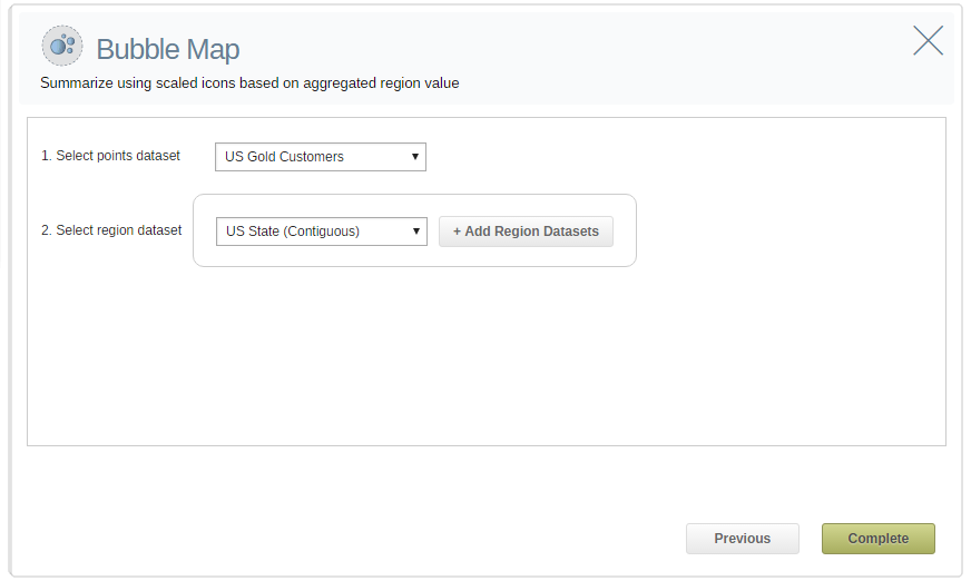 Select your points data for bubble map analysis