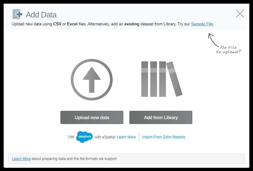 Quickly and easily upload your data to eSpatial