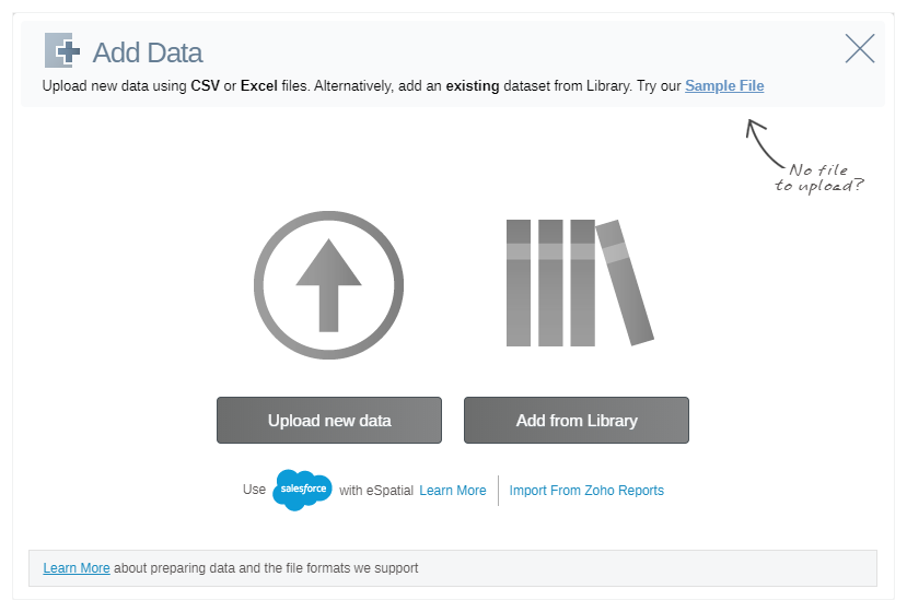 Quickly and easily upload your data into eSpatial