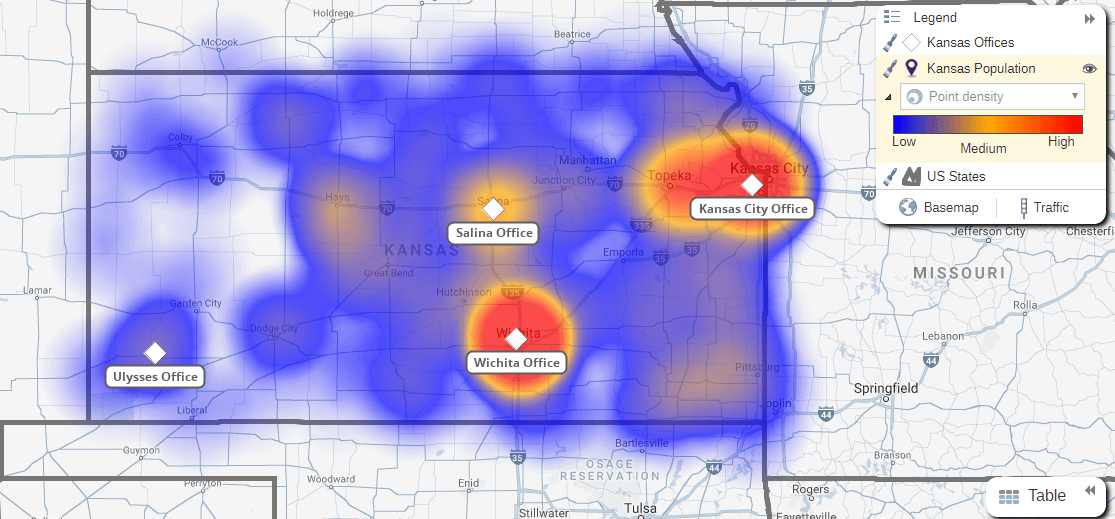 Heat map of Kansas state
