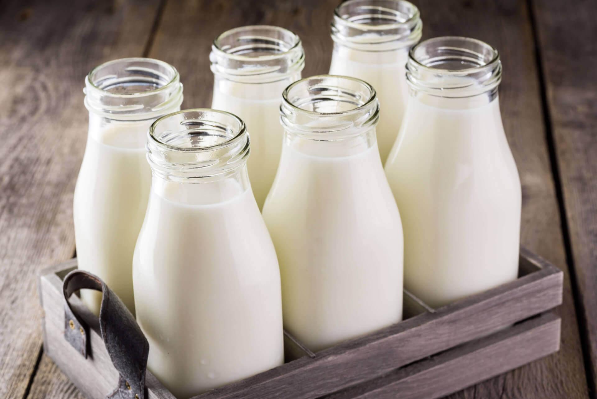 6 glass milk bottles