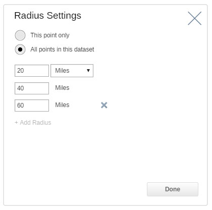 Set your radius criteria and the data to analyze.