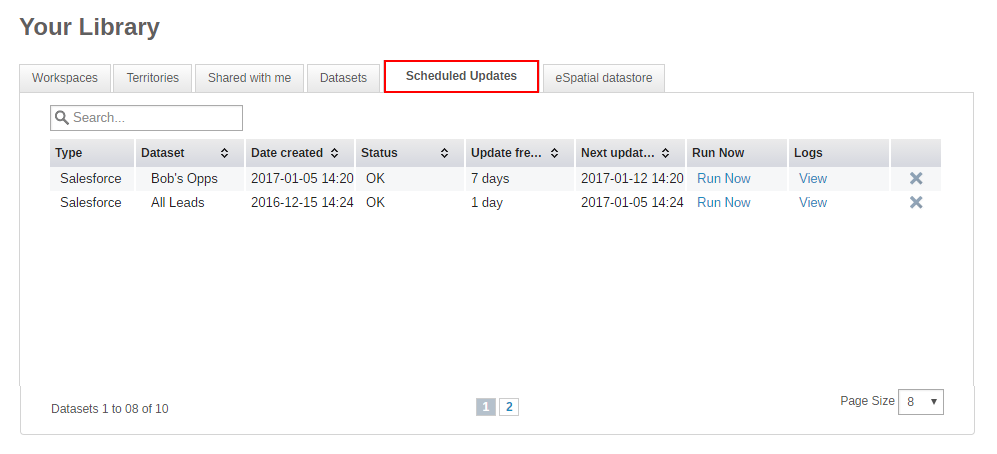 Find your scheduled Salesforce Report Synchronization in your Library