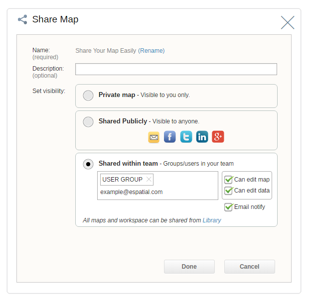 Share your maps with team members securely