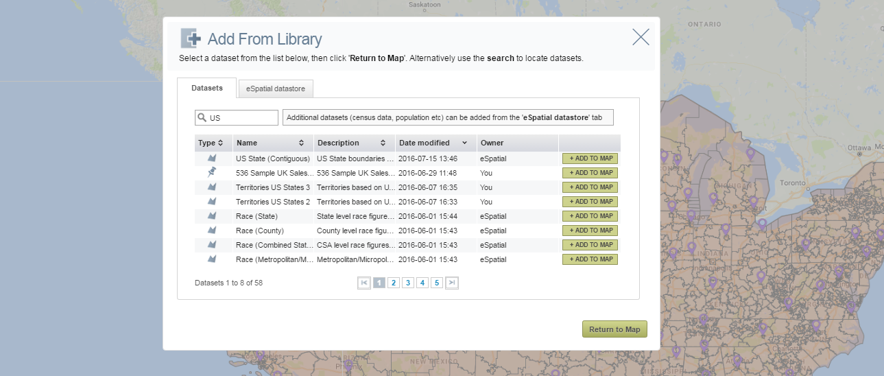 Add datasets to your map from within your workspace