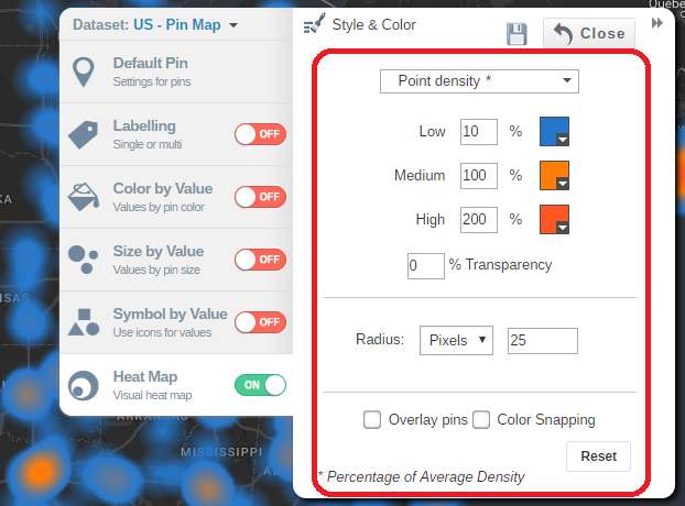 Overlay your pins on your heat map or activate color snapping to remove color noise