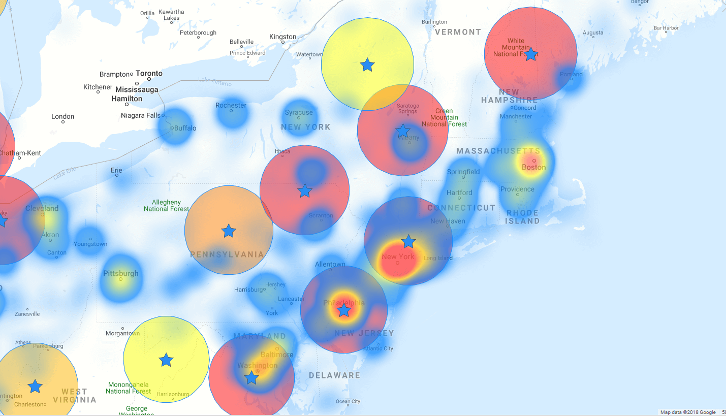 Dispersed heat map clusters
