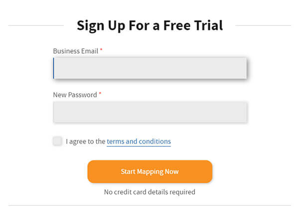 eSpatial's free trial sign up screen