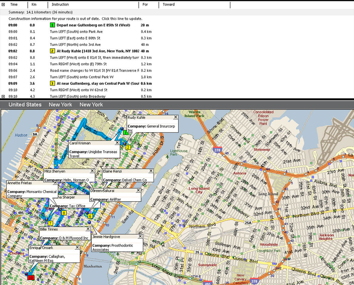 Microsoft MapPoint optimized route map