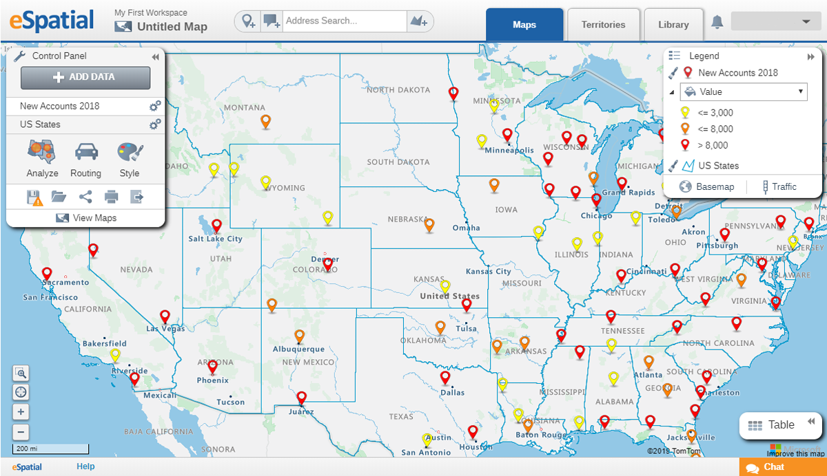 A pin geo map of warehouse locations in the US