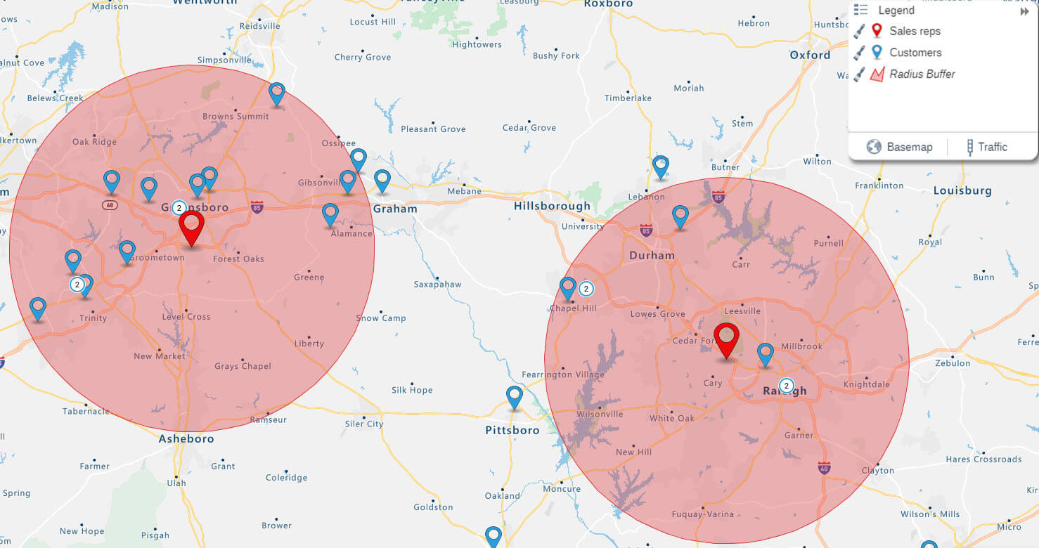 Radius map of customers and sales reps