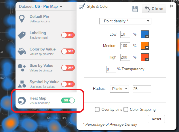 Select Heat Map Option from the Style Panel